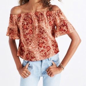 Madewell 100% Silk Paisley Off the Shoulder Blouse